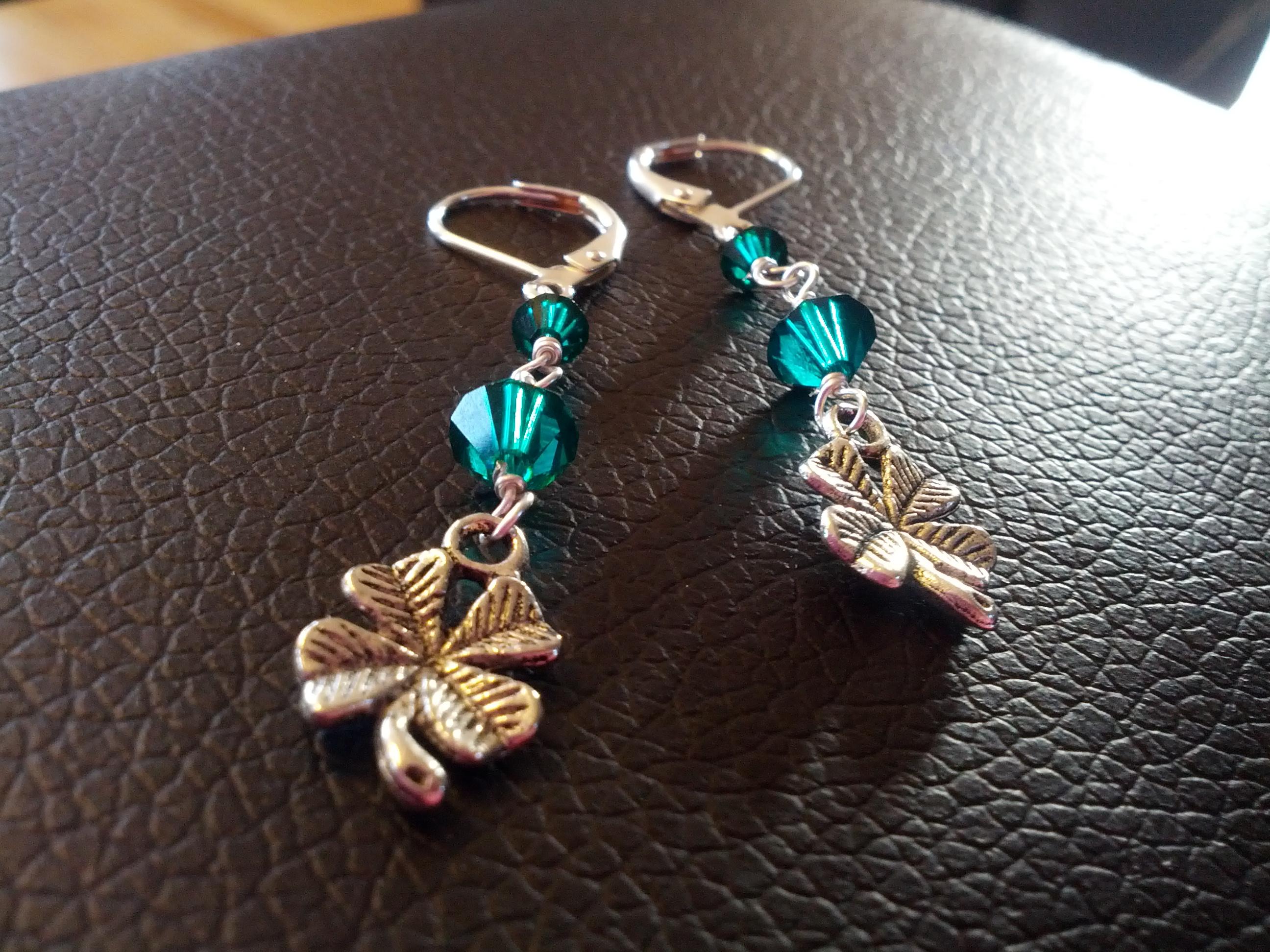 Four Leaf Clover Green Earrings